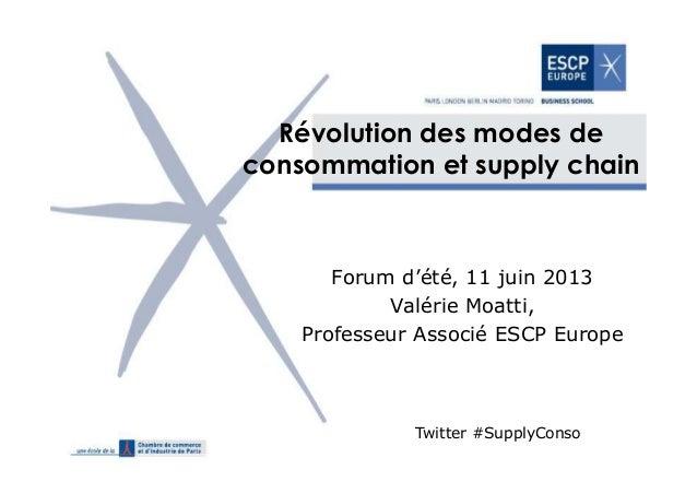 Révolution des modes de consommation et supply chain Forum d'été, 11 juin 2013 Valérie Moatti, Professeur Associé ESCP Eur...