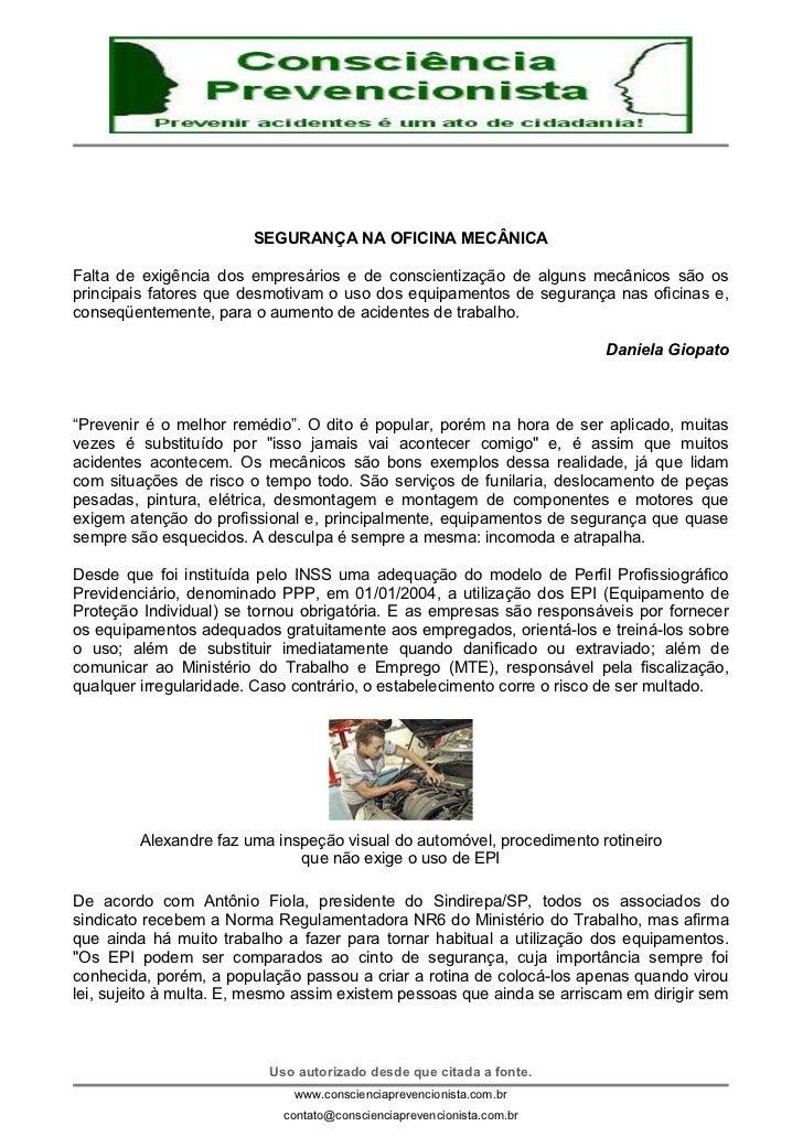 345a468465979 SEGURANÇA NA OFICINA MECÂNICAFalta de exigência dos empresários e de  conscientização de alguns mecânicos são osprincipais ...
