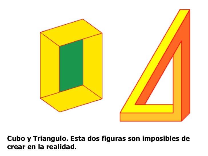 Cubo y Triangulo. Esta dos figuras son imposibles de crear en la realidad.
