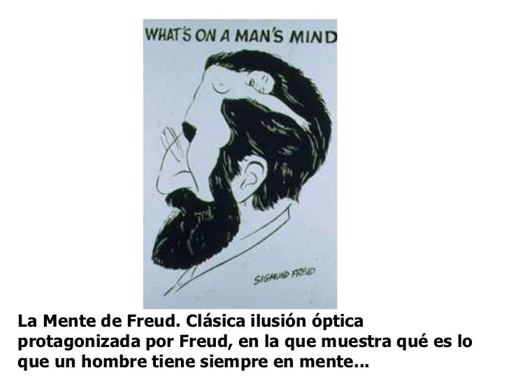 La Mente de Freud. Clásica ilusión óptica protagonizada por Freud, en la que muestra qué es lo que un hombre tiene siempre...