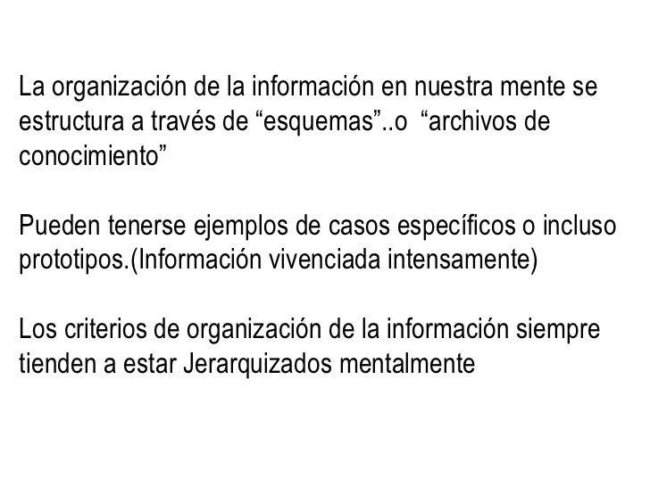 """La organización de la información en nuestra mente se estructura a través de """"esquemas""""..o  """"archivos de conocimiento""""  Pu..."""