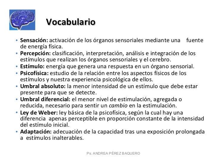 Ps. ANDREA PÉREZ BAQUERO Vocabulario  <ul><li>Sensación:  activación de los órganos sensoriales mediante una  fuente de en...