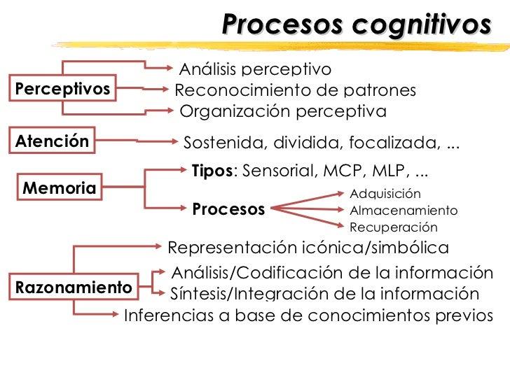Procesos cognitivos Perceptivos Atención Memoria Razonamiento Análisis/Codificación de la información Síntesis/Integración...