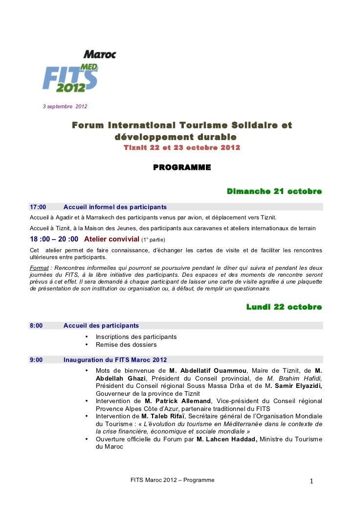 3 septembre 2012                Forum International Tourisme Solidaire et                       développement durable     ...