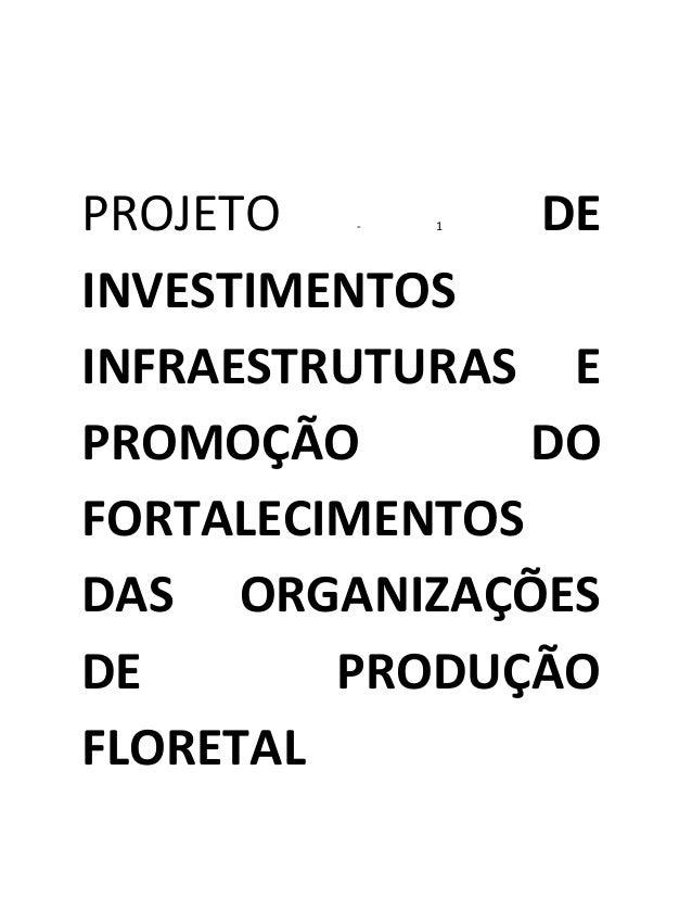 PROJETO - 1 DE INVESTIMENTOS INFRAESTRUTURAS E PROMOÇÃO DO FORTALECIMENTOS DAS ORGANIZAÇÕES DE PRODUÇÃO FLORETAL