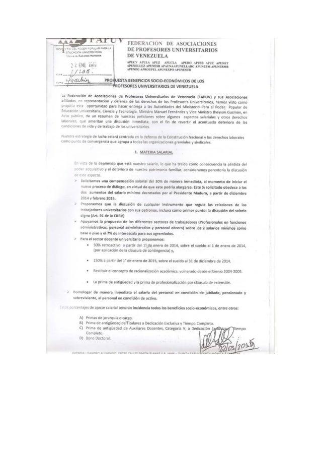 PROPUESTA BENEFICIOS SOCIO-ECONÓMICOS DE LOS PROFESORES UNIVERSITARIOS DE VENEZUELA
