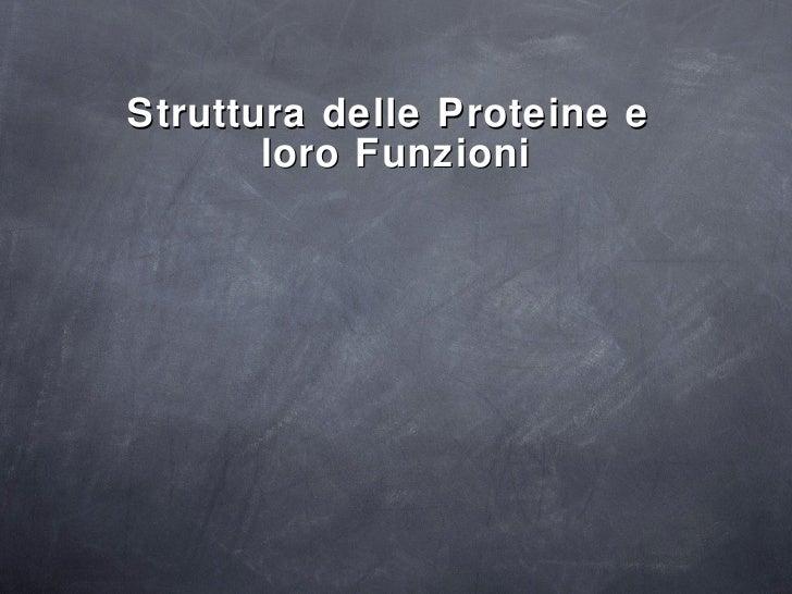<ul><li>Struttura delle Proteine e  </li></ul><ul><li>loro Funzioni </li></ul>