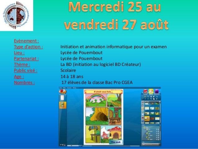 Evènement : Type d'action : Lieu : Partenariat : Thème : Public visé : Age : Nombres visés : Carrefour des associations Ev...