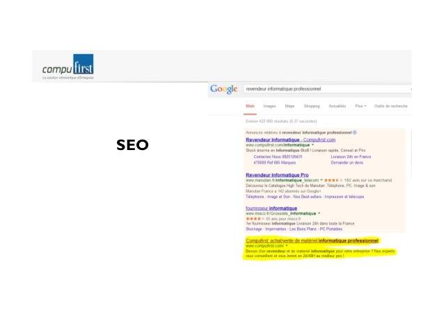 Execution marketing Génération de trafic & acquisition web  Comparateurs de prix (26%)  Achat de mots clefs (45%)  Clics t...