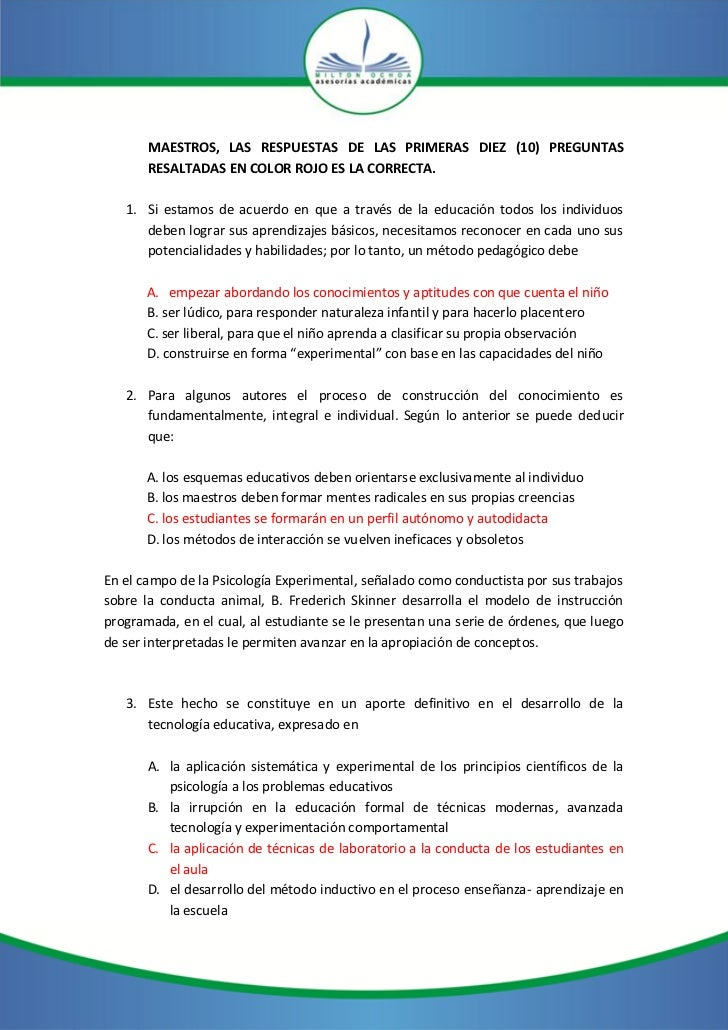MAESTROS, LAS RESPUESTAS DE LAS PRIMERAS DIEZ (10) PREGUNTAS       RESALTADAS EN COLOR ROJO ES LA CORRECTA.   1. Si estamo...