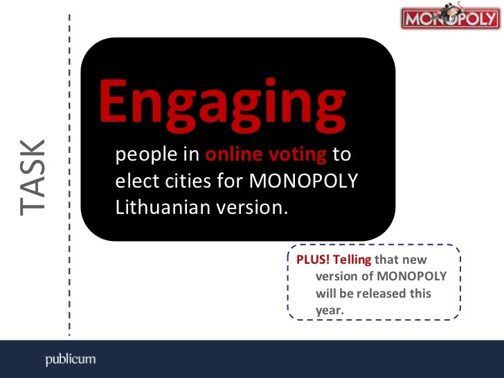 TASK <br />Engagingpeople in online votingto elect cities for MONOPOLY Lithuanian version.<br />PLUS! Telling that new ver...