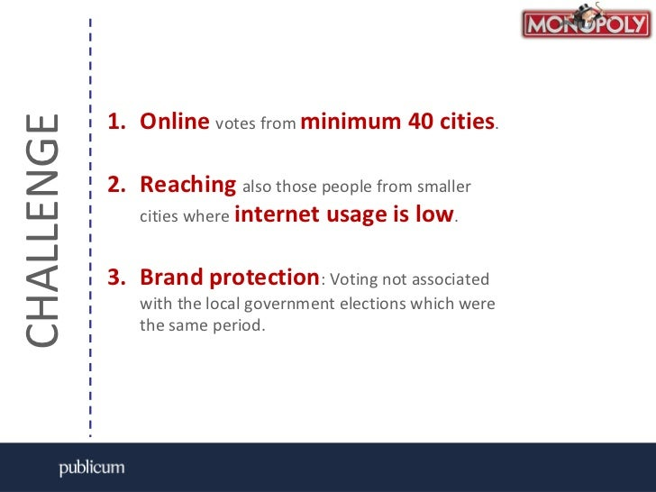 CHALLENGE<br />Onlinevotes from minimum40 cities.<br />Reachingalso those people from smaller cities where internet usage ...