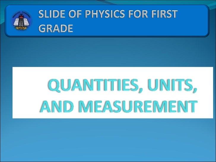 1 Quantities Units And Measurement