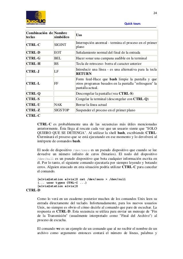 24 Quick tours  Combinación de Nombre teclas simbólico  Uso  CTRL-C  SIGINT  Interrupción anormal - termina el proceso en ...
