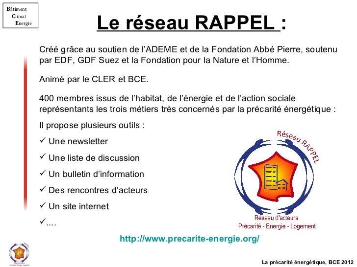 Le réseau RAPPEL  : <ul><li>Créé grâce au soutien de l'ADEME et de la Fondation Abbé Pierre, soutenu par EDF, GDF Suez et ...