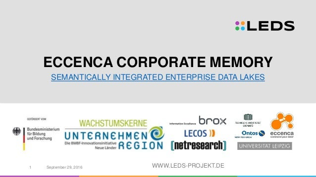 WWW.LEDS-PROJEKT.DE ECCENCA CORPORATE MEMORY SEMANTICALLY INTEGRATED ENTERPRISE DATA LAKES September 29, 20161