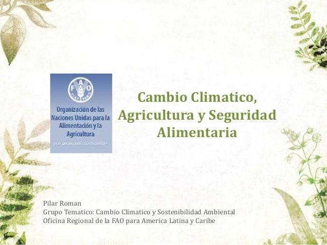 Cambio Climatico, Agricultura y Seguridad Alimentaria  Pilar Roman Grupo Tematico: Cambio Climatico y Sostenibilidad Ambie...