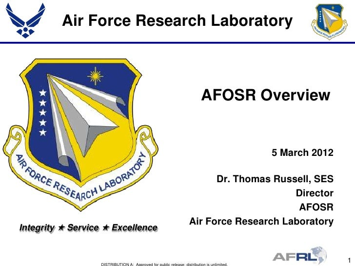 Air Force Research Laboratory                                     AFOSR Overview                                          ...