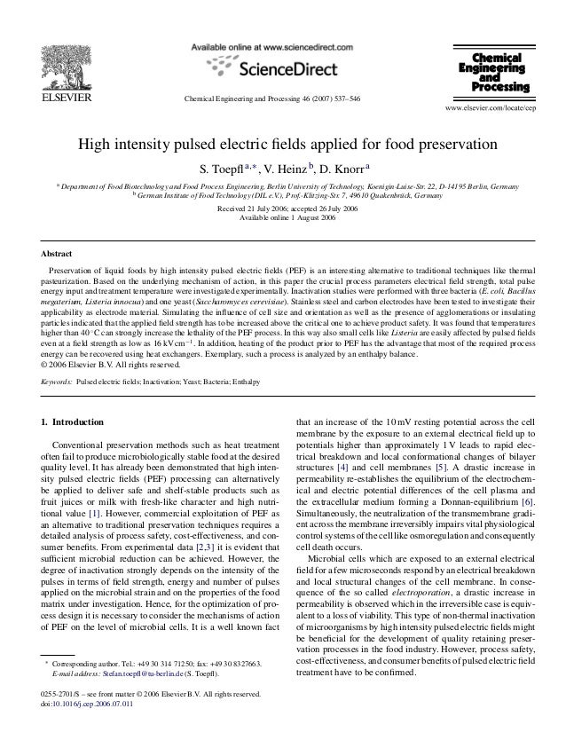 Chemical Engineering and Processing 46 (2007) 537–546               High intensity pulsed electric fields applied for food ...