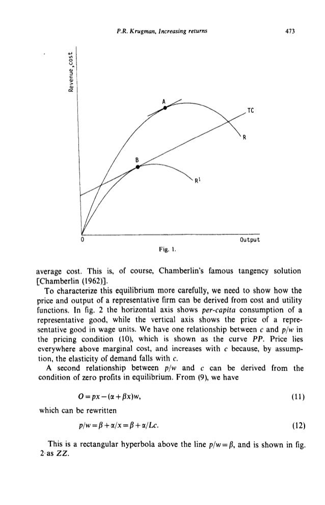 P.R. Krugman, Increasing returns 473 41N 0 V d N v Fig. 1. average cost. This is, of course, Chamberlin's famous tangency ...