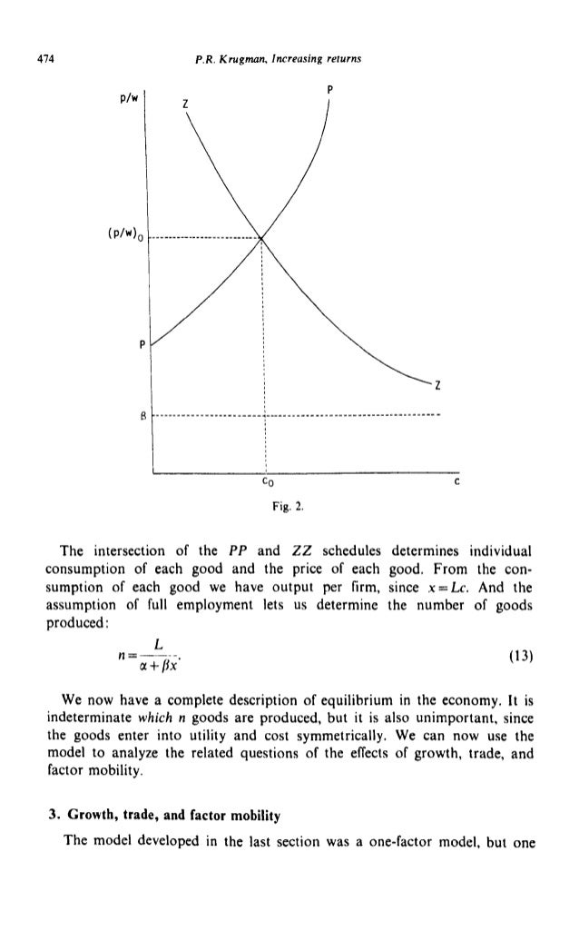 474 P.R. Krugman, Increasing returns P/w (P/W)o Fig. 2. D The intersection of the PP and ZZ schedules determines individua...