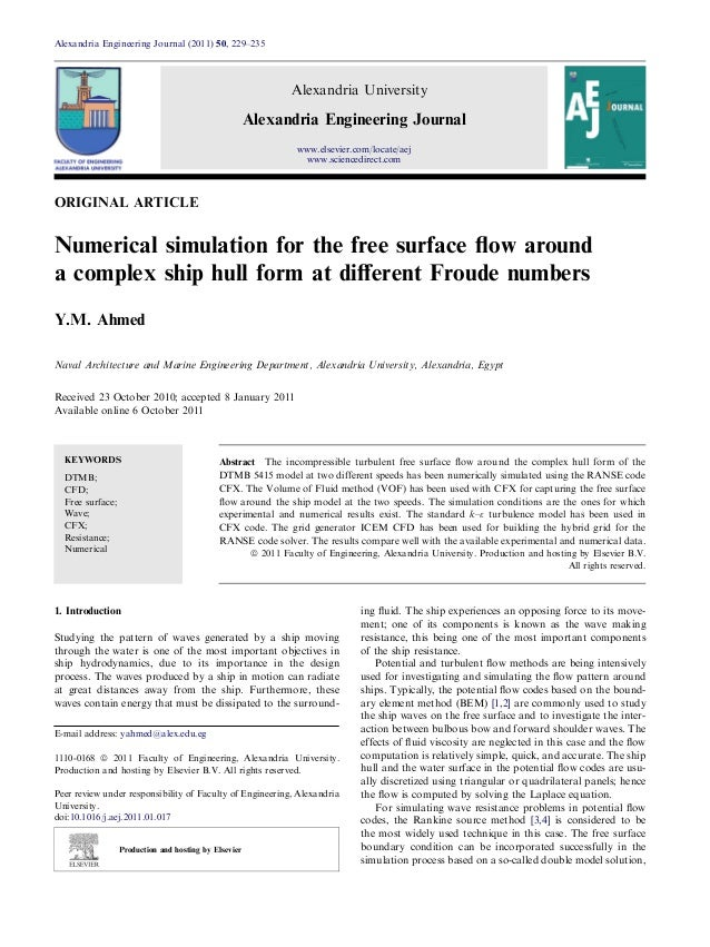 Numerical simulation for the free surface flow around a