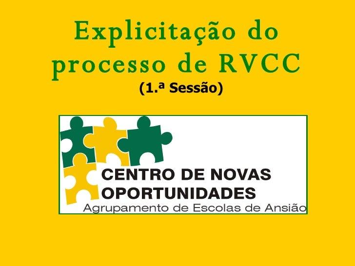 Explicitação do processo de RVCC (1.ª Sessão)