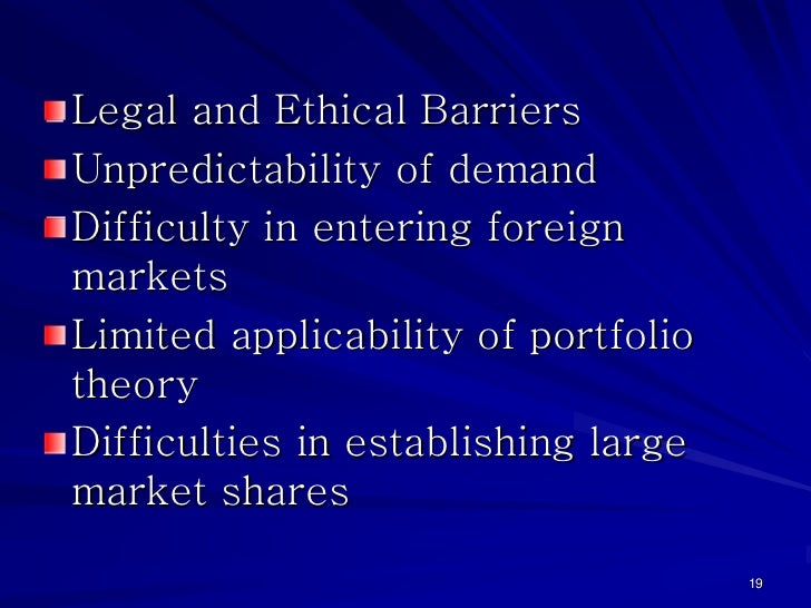 Legal and Ethical BarriersUnpredictability of demandDifficulty in entering foreignmarketsLimited applicability of portfoli...