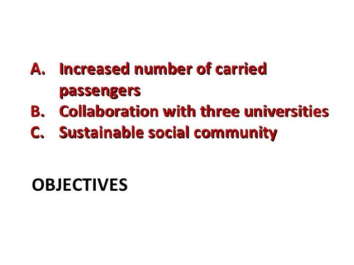 OBJECTIVES <ul><li>Increased number of carried passengers  </li></ul><ul><li>Collaboration with three universities </li></...