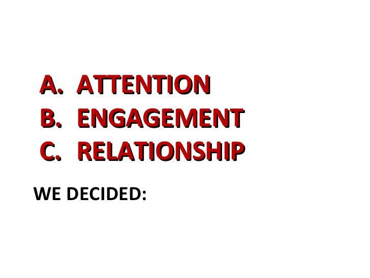 WE DECIDED: <ul><li>ATTENTION </li></ul><ul><li>ENGAGEMENT </li></ul><ul><li>RELATIONSHIP </li></ul>