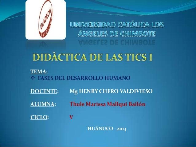 TEMA:  FASES DEL DESARROLLO HUMANO DOCENTE: Mg HENRY CHERO VALDIVIESO ALUMNA: Thule Marissa Mallqui Bailón CICLO: V HUÁNU...