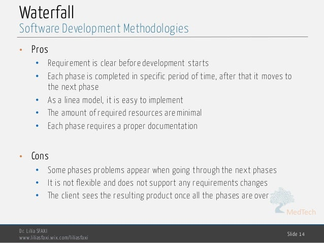 MedTech Waterfall • Pros • Requirement is clear before development starts • Each phase is completed in specific period of ...