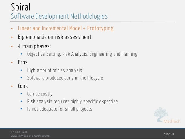 MedTech Spiral • Linear and Incremental Model + Prototyping • Big emphasis on risk assessment • 4 main phases: • Objective...