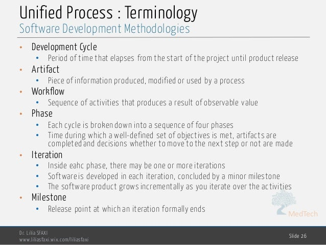 MedTech Unified Process : Terminology Dr. Lilia SFAXI www.liliasfaxi.wix.com/liliasfaxi Slide 26 Software Development Meth...