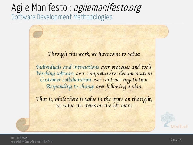 MedTech Agile Manifesto : agilemanifesto.org Dr. Lilia SFAXI www.liliasfaxi.wix.com/liliasfaxi Slide 35 Software Developme...