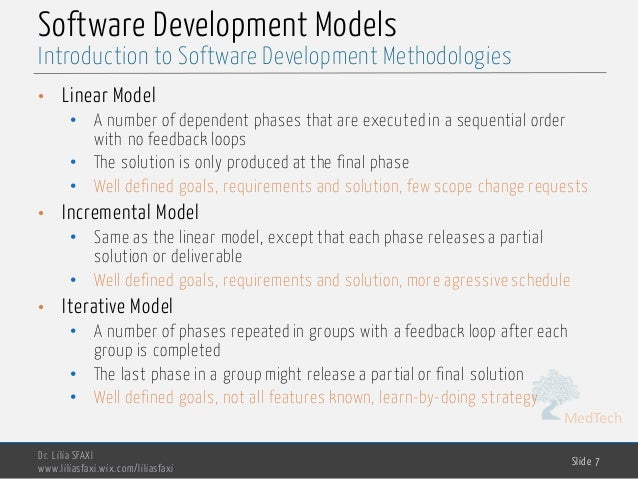 MedTech Software Development Models • Linear Model • A number of dependent phases that are executed in a sequential order ...