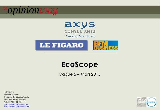 1pour – EcoScope – Mars 2015 EcoScope Vague 5 – Mars 2015 Contact : Frédéric Micheau Directeur des études d'opinion Direct...