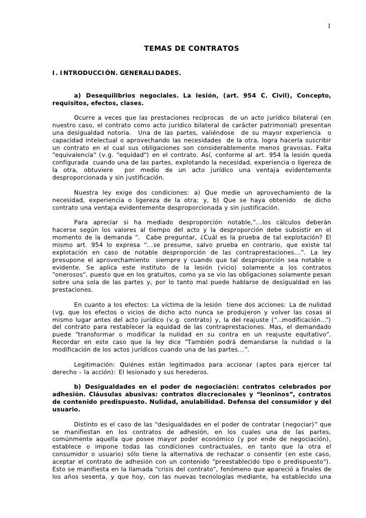 1                                TEMAS DE CONTRATOS   I. INTRODUCCIÓN. GENERALIDADES.         a) Desequilibrios negociales...