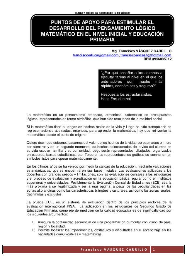 TEORIA Y PRÁXIS EN HABILIDADES MATEMÁTICAS            PUNTOS DE APOYO PARA ESTIMULAR EL           DESARROLLO DEL PENSAMIEN...