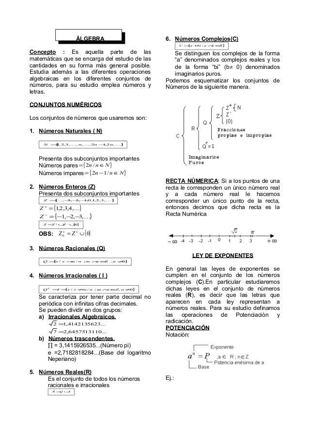ÁLGEBRA Concepto : Es aquella parte de las matemáticas que se encarga del estudio de las cantidades en su forma más genera...