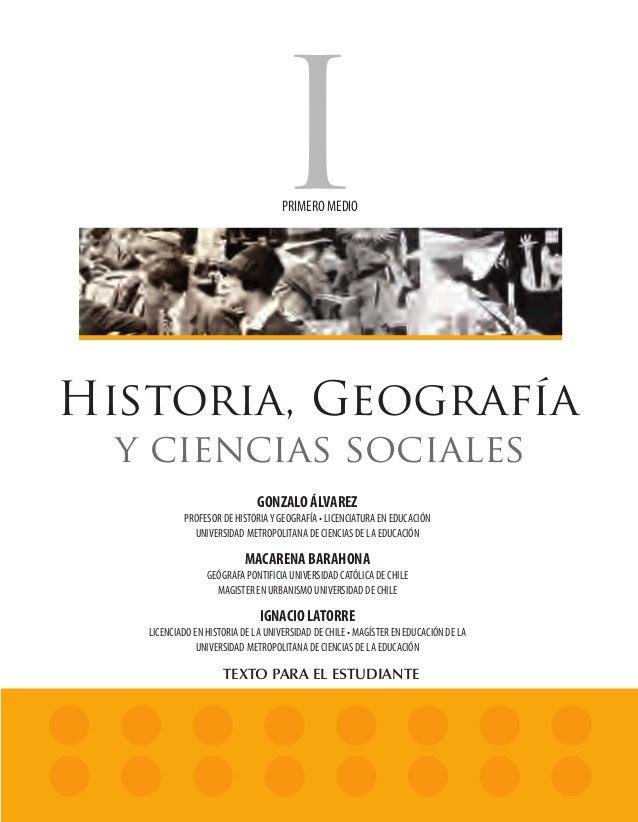 PRIMERO MEDIO            Historia, Geografía                                y ciencias sociales                           ...