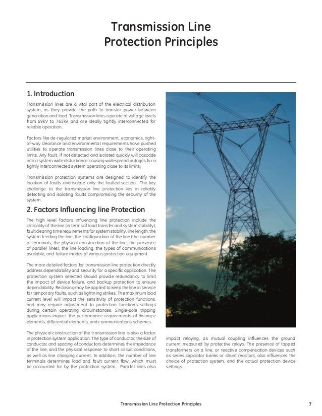 Transmission Line  Protection Principles  1. Introduction Transmission lines are a vital part of the electrical distribut...