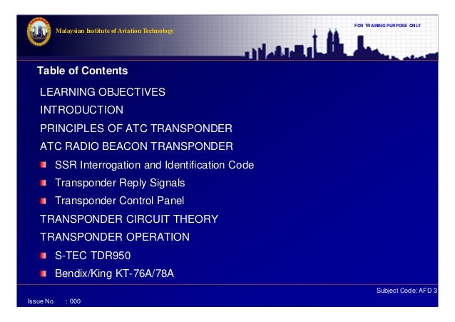 What is a transponder Principle of operation and scope