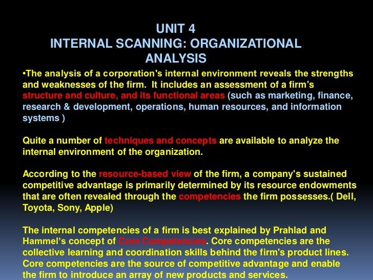 internal environmental analysis for sony A swot analysis evaluates the internal strengths and weaknesses,  and sony) managerial skill is brought in from an international supply  environmental.