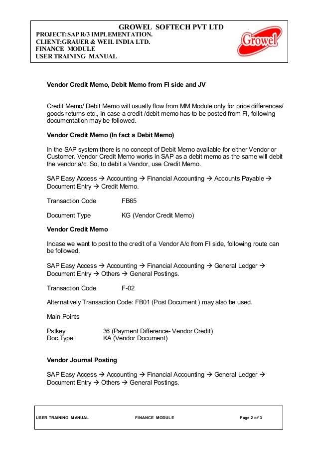 Memo Credit  Debit Note Letter