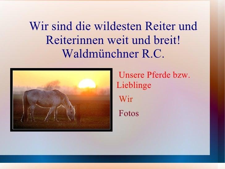 Wir sind die wildesten Reiter und Reiterinnen weit und breit! Waldmünchner R.C. <ul><li>Unsere Pferde bzw. Lieblinge