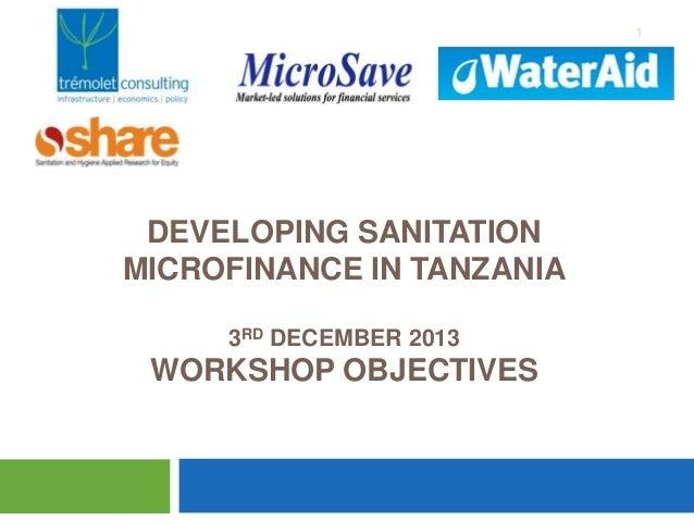 1  DEVELOPING SANITATION MICROFINANCE IN TANZANIA 3RD DECEMBER 2013  WORKSHOP OBJECTIVES