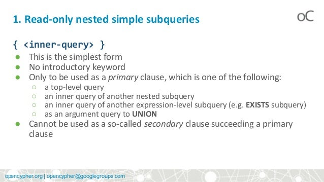 openCypher: Introducing subqueries