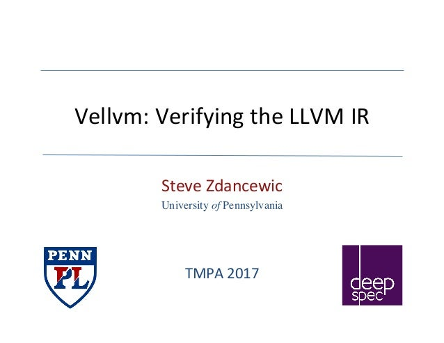 Vellvm:VerifyingtheLLVMIR SteveZdancewic University of Pennsylvania TMPA2017