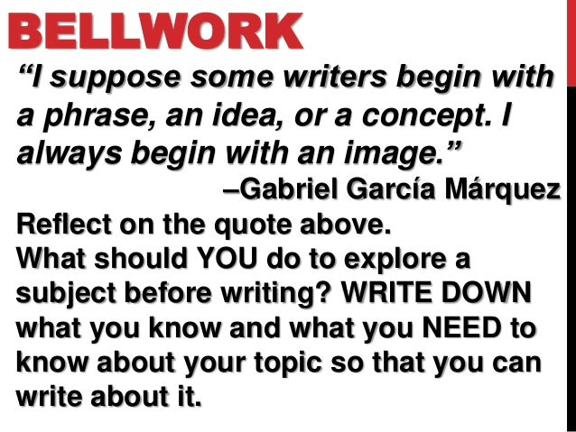 """BELLWORK""""I suppose some writers begin witha phrase, an idea, or a concept. Ialways begin with an image.""""                –G..."""